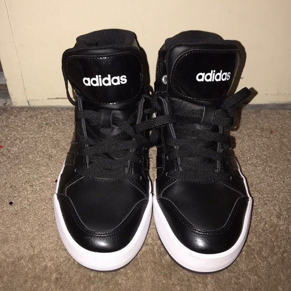 Adidas neo cloudfoam black high top sneakers 6.5